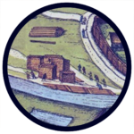 "Detail from the panorama of Kraków in ""Civitates Orbis Terrarum"" (1617)"