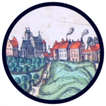 "Detail from the panorama of Warszawa in ""Civitates Orbis Terrarum"" (1617)"