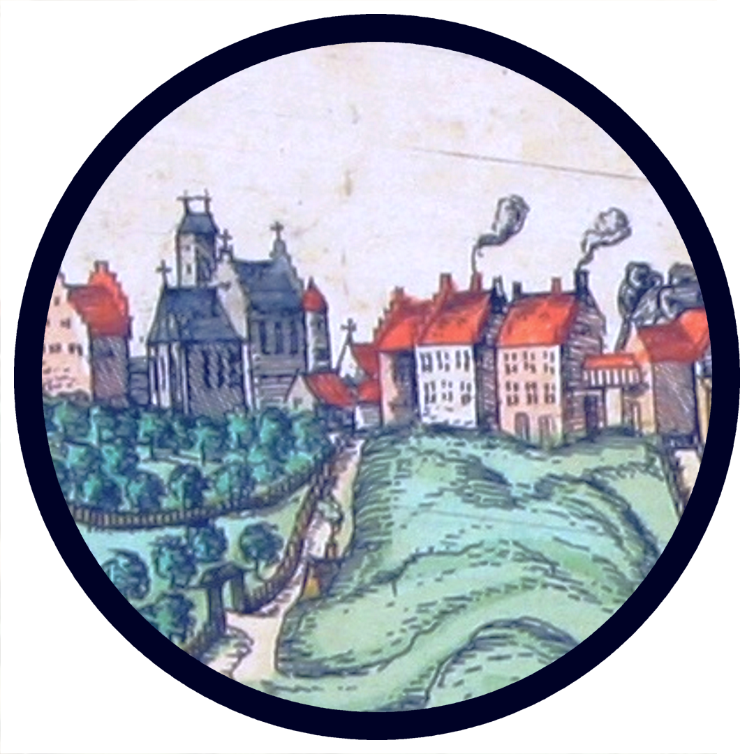 """Detail from the panorama of Warszawa in """"Civitates Orbis Terrarum"""" (1617)"""