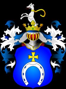 """The Pobóg coat of arms, from the book """"Herbarz Polski"""" (2007) by Tadeusz Gajl; digital version by Avalokitesvara (CC BY-SA 4.0)"""