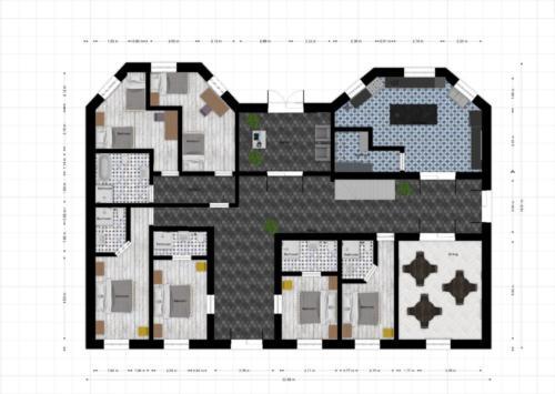 Cygany wizualizacja zagospodarowania parteru - hotel